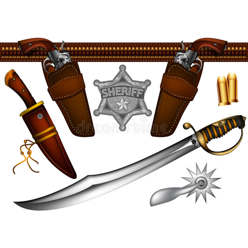 Set of sheriffs weapons vector illustration