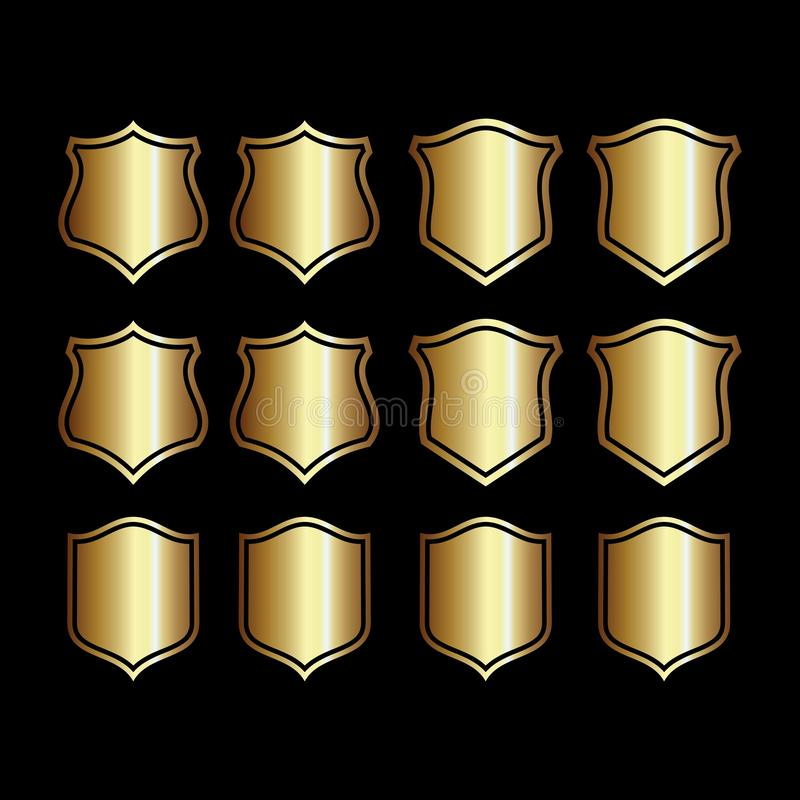 Set of shield gold isolated on black background stock illustration