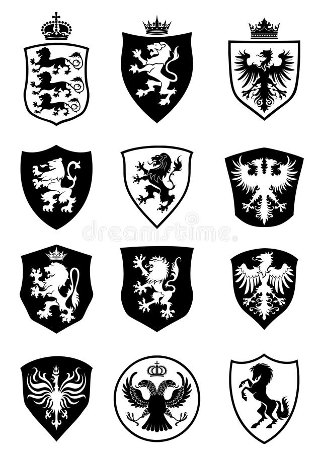 Set of shield heraldry vector illustration