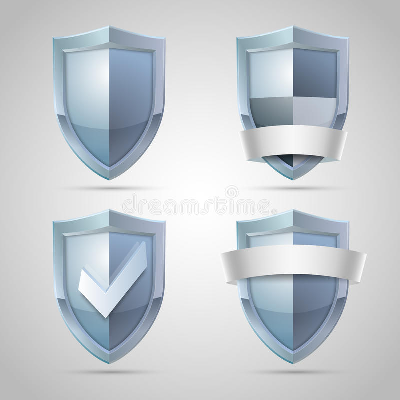 Set of shield icons stock illustration