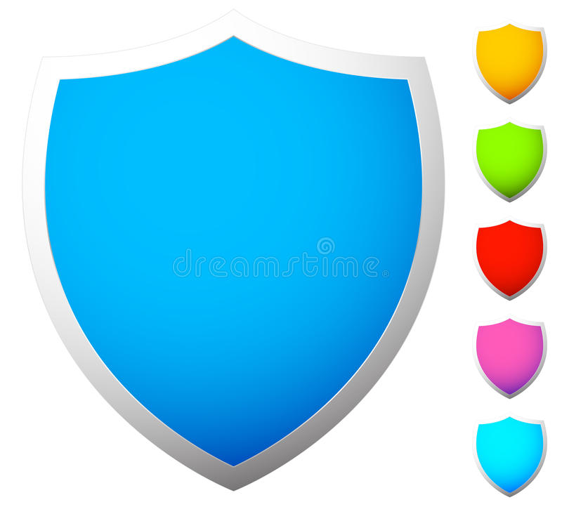 Set of shield shapes, icons in 6 colors vector illustration