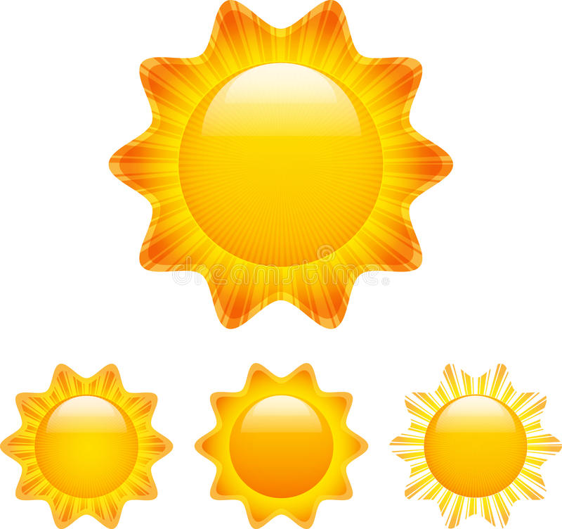 Download Set Of Shining Suns With Rays Stock Vector - Image: 25537400