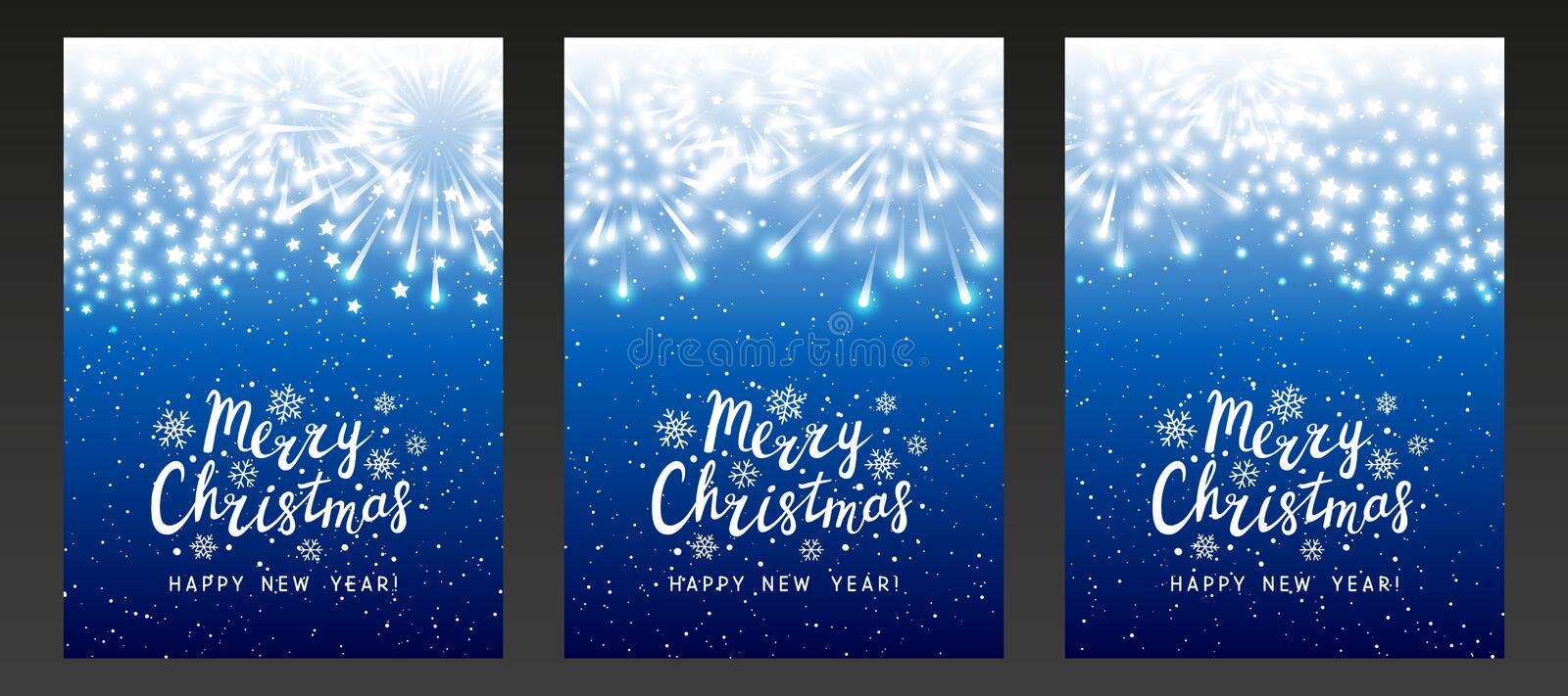 Set of shiny fireworks on blue starry background - vertical greeting cards for Christmas and New Year holiday design. Set of shiny fireworks on blue starry stock illustration