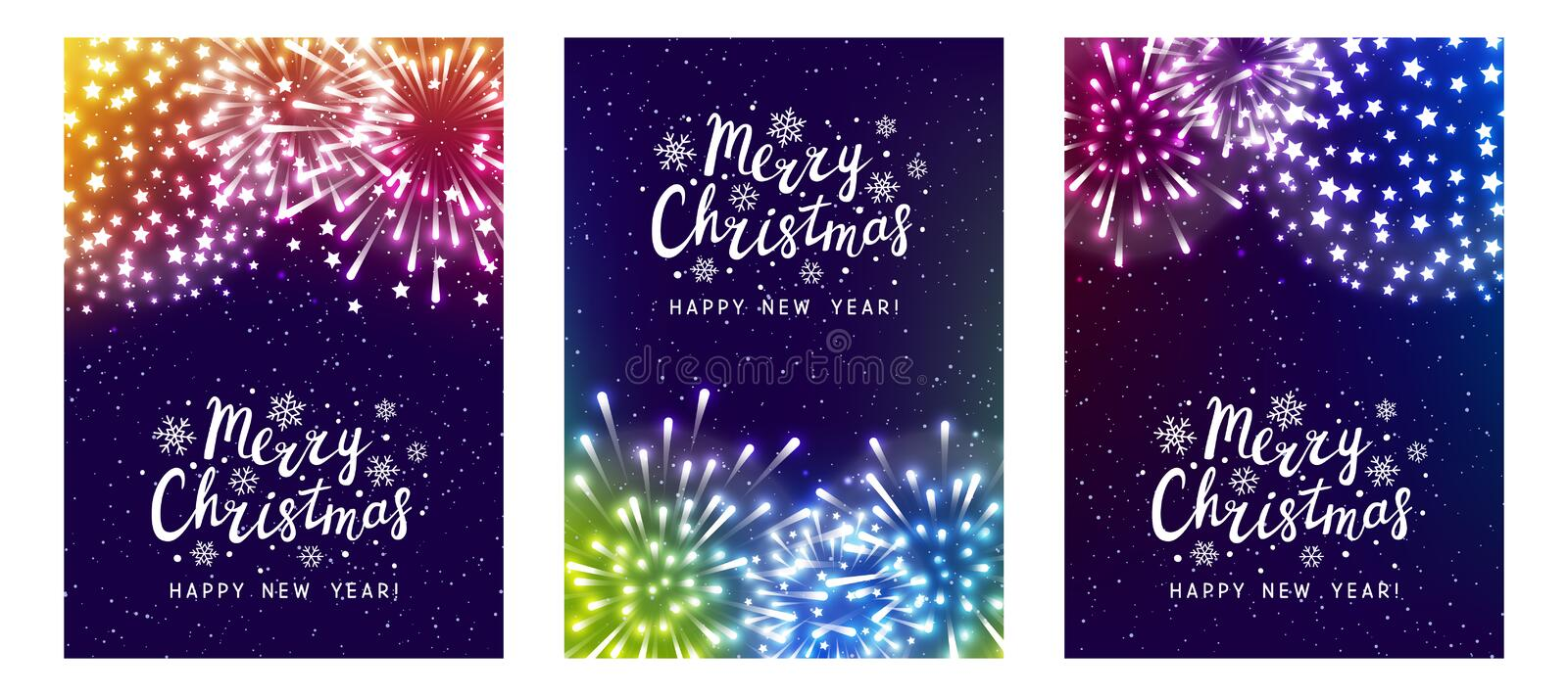 Set of shiny fireworks on color starry background - vertical greeting cards for Christmas and New Year holiday design. Set of shiny fireworks on color starry vector illustration