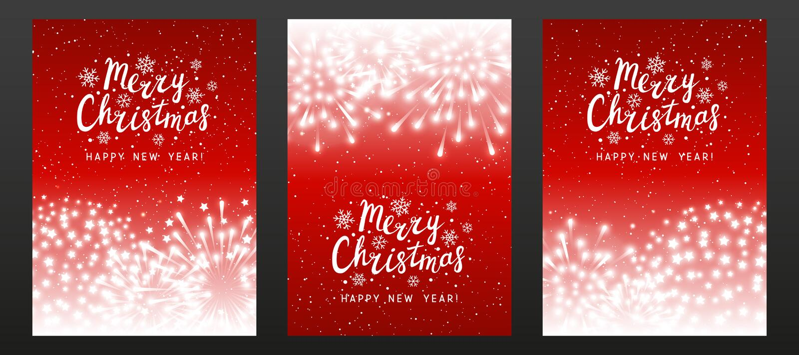 Set of shiny fireworks on red starry background - vertical greeting cards for Christmas and New Year holiday design. Set of shiny fireworks on red starry royalty free illustration