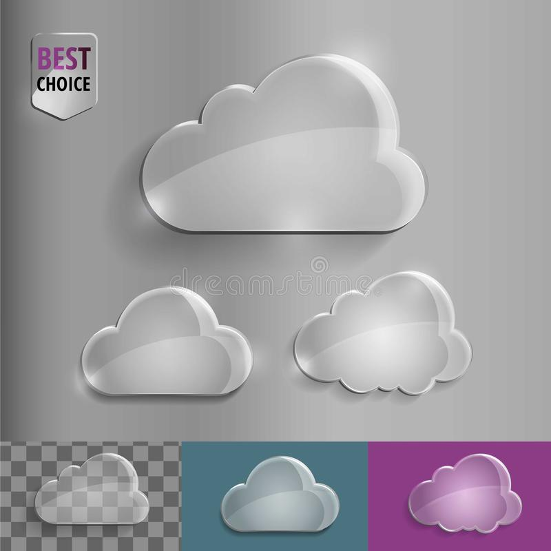 Set of shiny glass bubble cloud icons with soft shadow on gradient background . Vector illustration EPS 10 for web. royalty free illustration