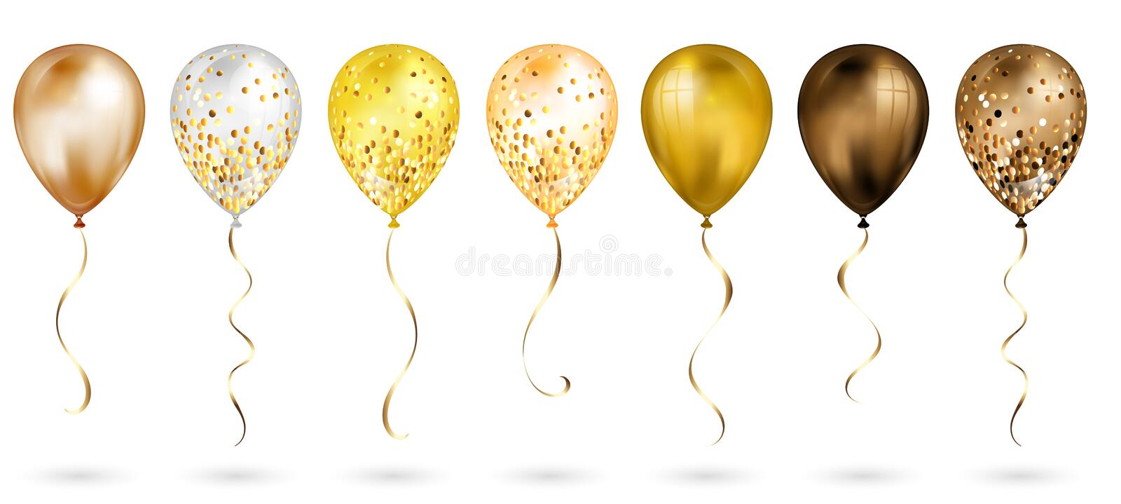 Set of 7 shiny gold realistic 3D helium balloons for your design. Glossy balloons with glitter and gold ribbon, perfect decoration. For birthday party brochures royalty free illustration