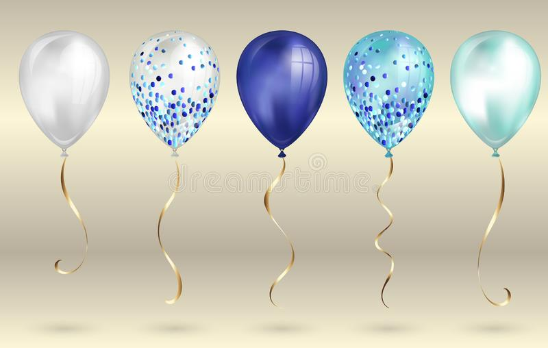 Set of 5 shiny realistic 3D blue helium balloons for your design. Glossy balloons with glitter and gold ribbon, perfect decoration vector illustration