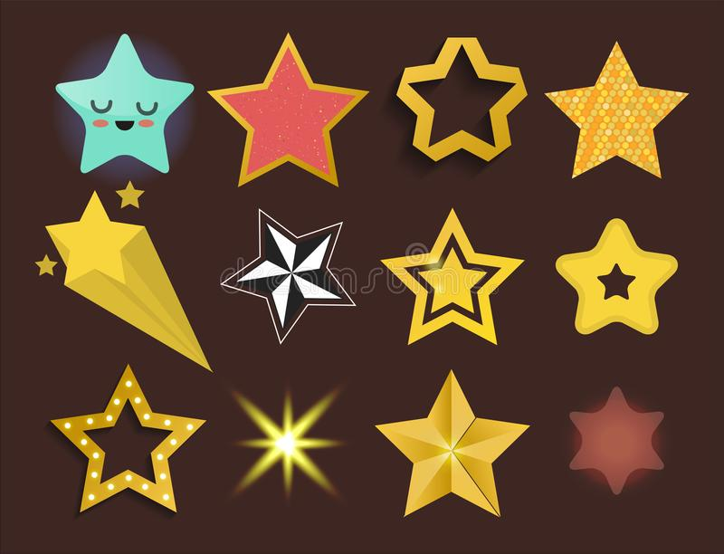 Shiny star icons in different style pointed pentagonal gold award abstract design doodle night artistic symbol vector. Set of shiny star icons in different style vector illustration