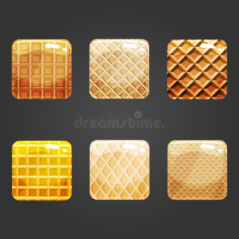 Set of shiny waffle square button. User interface illustration stock illustration