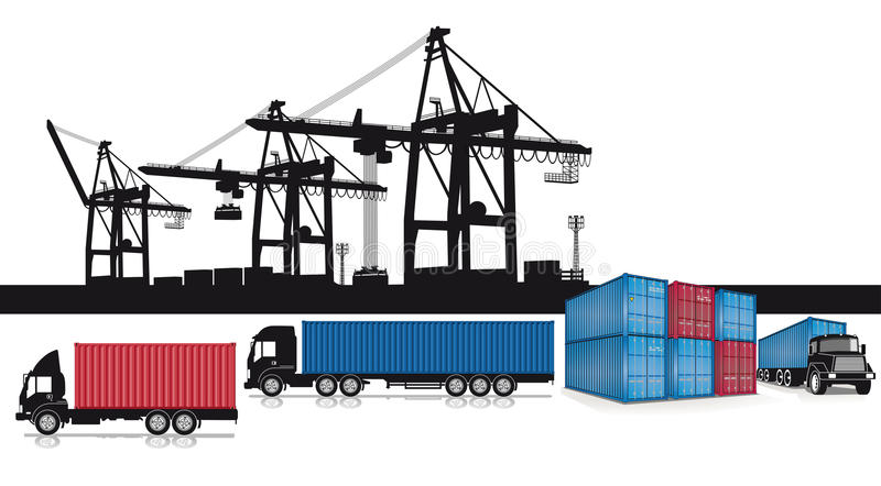 Shipping containers set. A set of shipping icons with intermodal containers, trucks and cranes at a port vector illustration