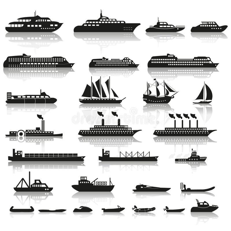 Set of ships and boats royalty free illustration