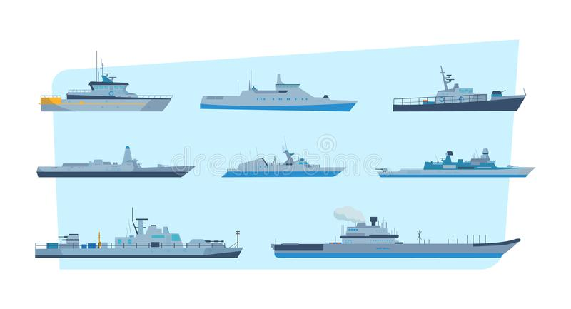 Set of ships in modern flat style: ships, boats, ferries. royalty free illustration