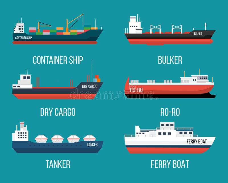 Set of ships in modern flat style. stock illustration