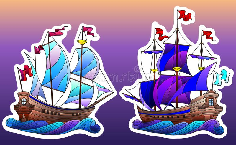 Stained glass illustration with set of ships , sailboats on waves isolated on sky background vector illustration