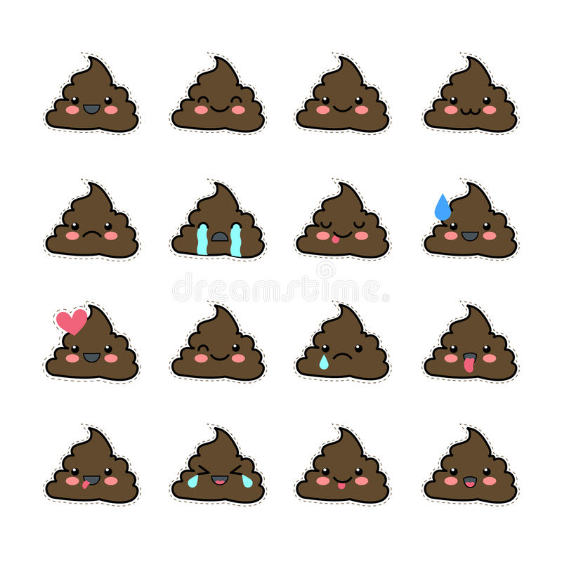 Collection Of Cute Lovely Emoticon Emoji Doodle Cartoon Face Stock