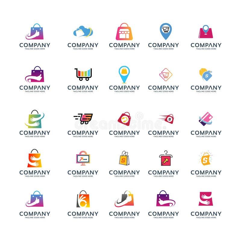 Set shooping i biznesowy logo ilustracja wektor