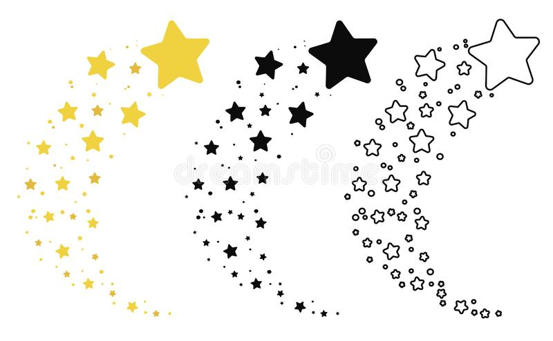 Set of shooting stars. Collection of stars silhouette. Vector illustration of a flying star. Black and white drawing stock illustration