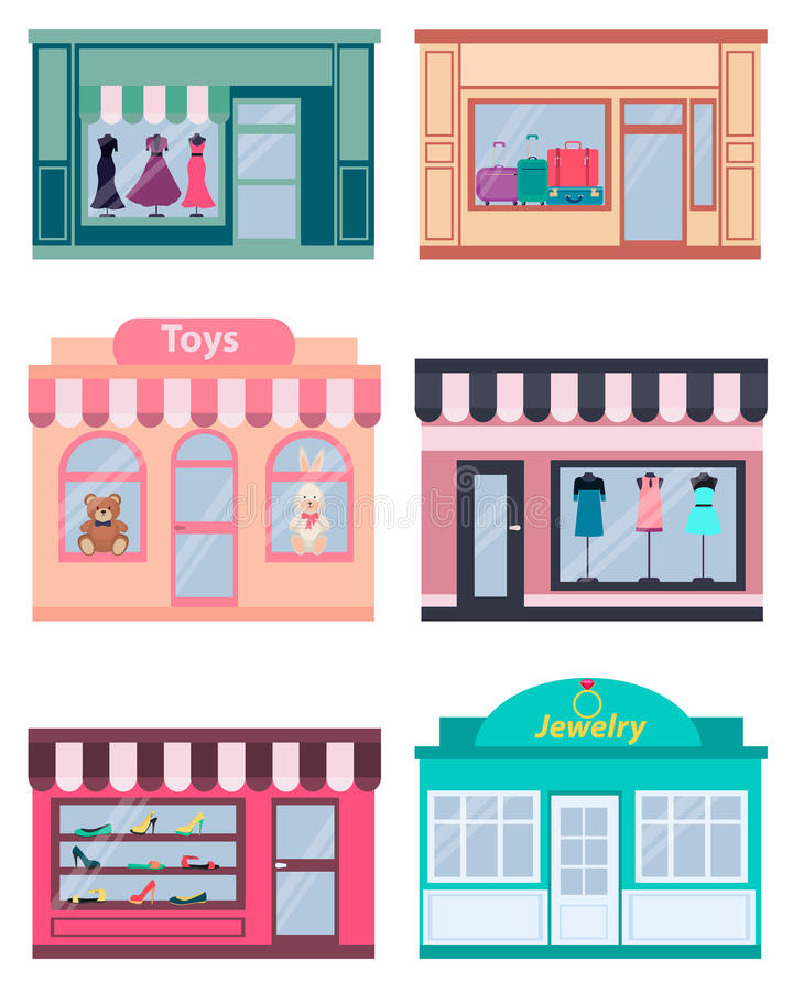 Set shop. Clothing, shoes and jewelry. Vector illustration royalty free illustration