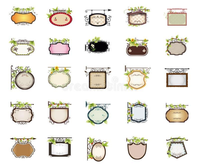 Download Set of shop signs design stock vector. Image of leaf - 20016381