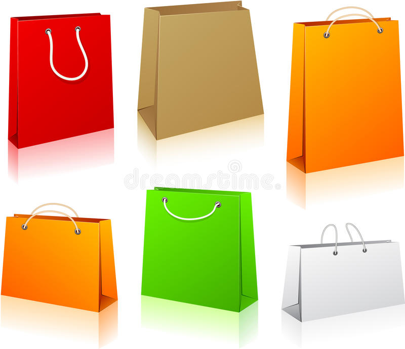 Download Set of shopping bags. stock vector. Image of isolated - 19664372