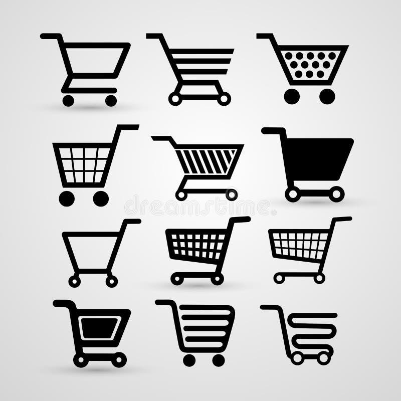 Set of shopping cart icon, flat design. Vector illustration. Isolated on white background royalty free illustration