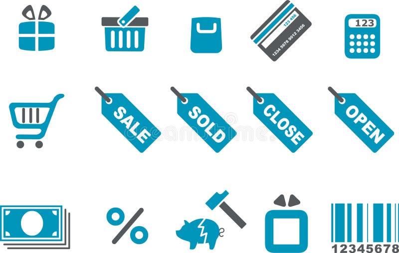 set shopping för symbol stock illustrationer