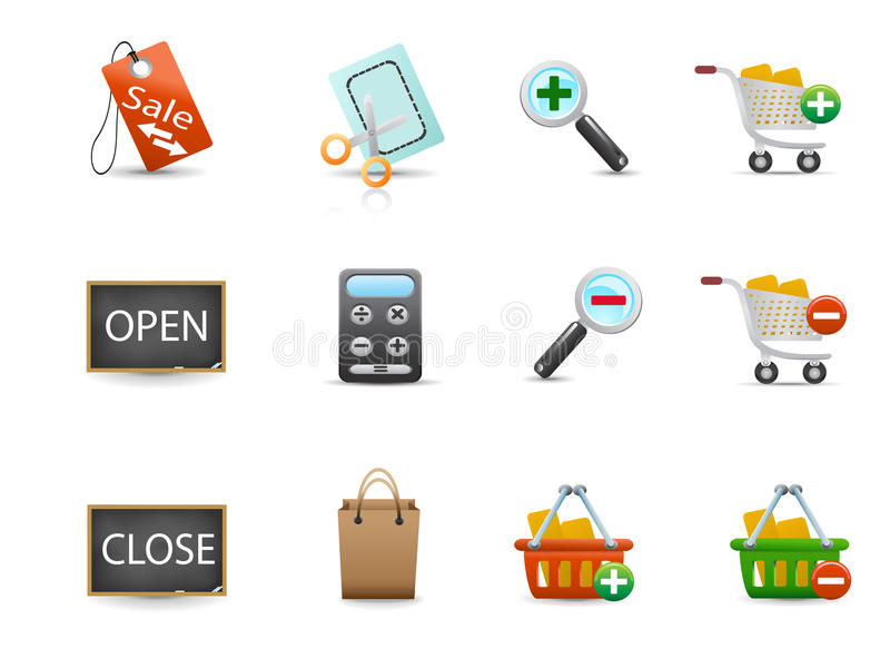 Set of shopping icons. Several shopping icons for design royalty free illustration