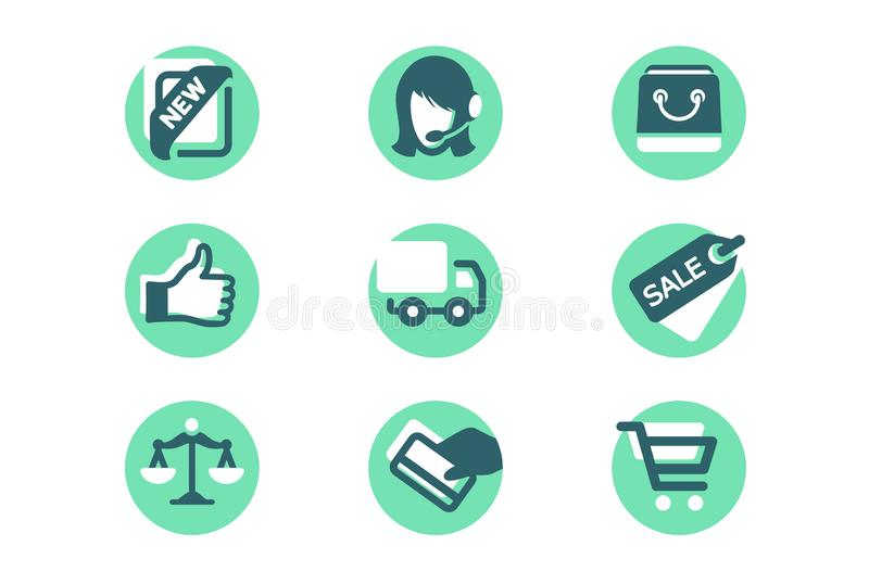 Set shopping icons with card payment, delivery, like, sale, support, bag. royalty free illustration