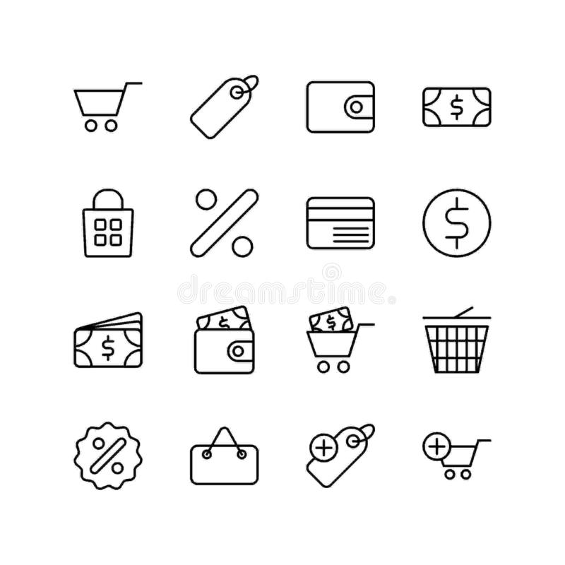 Set of shopping line icon design, black outline vector icons, isolated against the white background, commerce mark vector. stock illustration