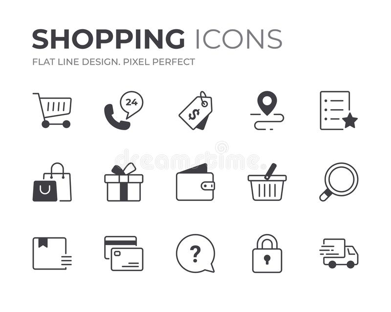 Shopping and Retail Icons Set. Set of Shopping and Retail Vector Icons. Contain Icons as Payment, Checkout, Basket and more stock illustration