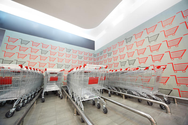 Download Set Of Shopping Trolley In Supermarket Stock Image - Image of consumer, mart: 20918311