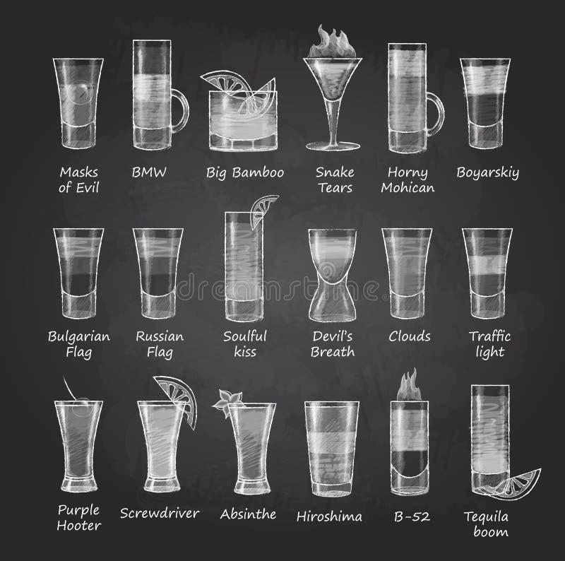 Set of shot cocktails. Chalk drawing menu design vector illustration