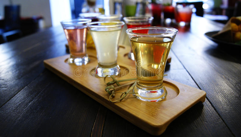 Set of shot drinks royalty free stock photography