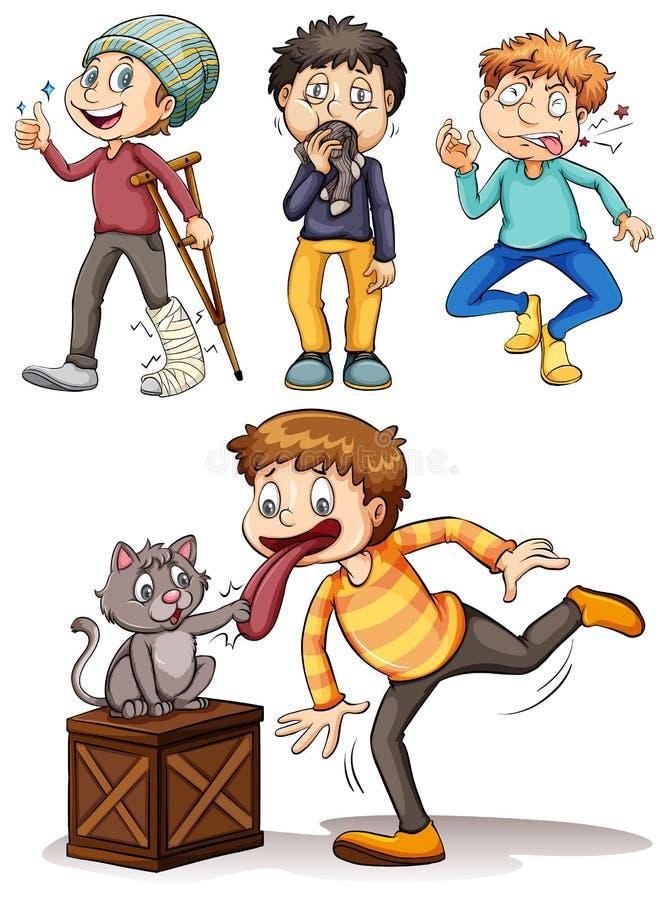 Set of sick boys. Illustration stock illustration