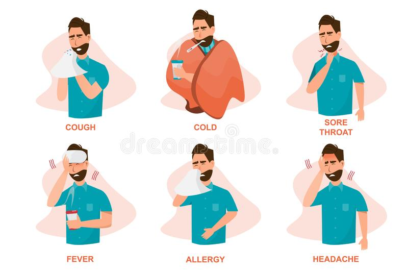 Set of sick people feeling unwell, cough, having cold, sore throat, fever, allergy and, headache vector illustration