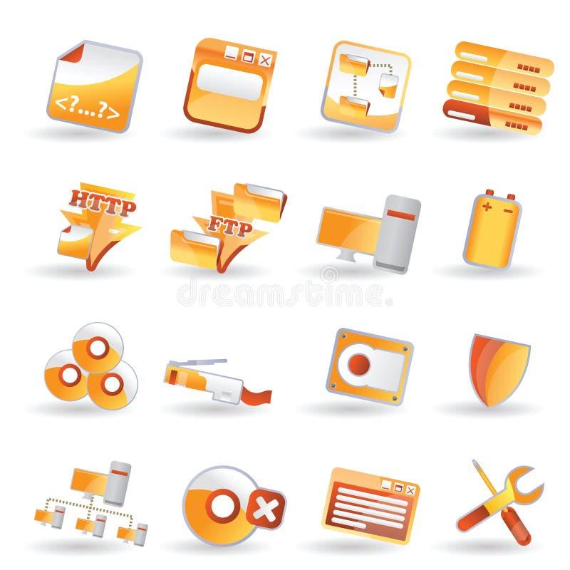 set sida för symbolsserver vektor illustrationer