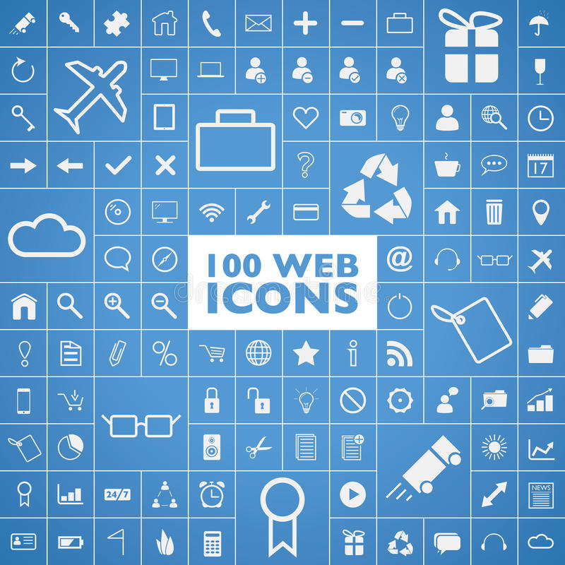 Set 100 sieć, internet, biuro, komputer i tra, ilustracji
