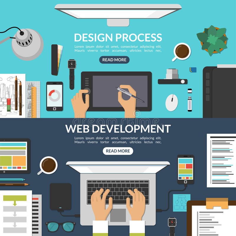 Set sieć procesu rozwoju i projekta sztandary ilustracji