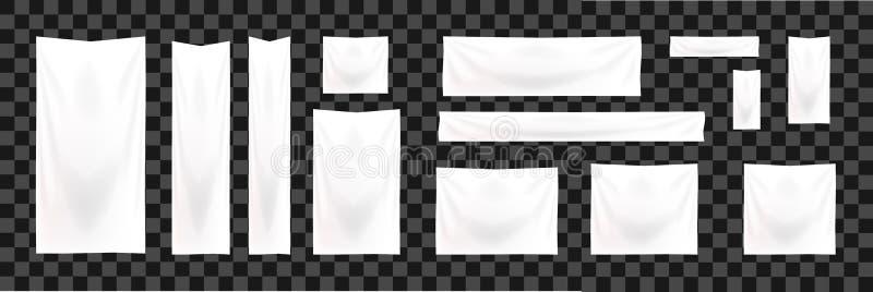 Set sieć sztandary standardowy rozmiar Pionowo, horyzontalnego i kwadratowego szablonu sztandaru Biały tekstylny szablon, ilustracji