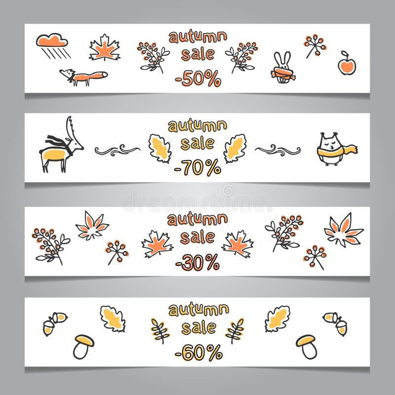 Set sieć sztandary z jesieni ilustracjami royalty ilustracja