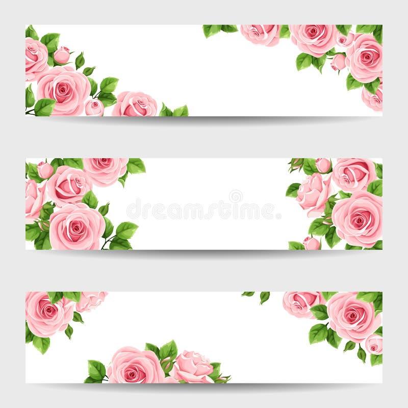 Set sieć sztandary z różowymi różami również zwrócić corel ilustracji wektora royalty ilustracja