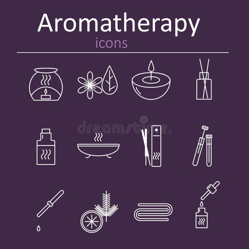 Set sieci ikony dla aromatherapy Nafciany palnik, Aromatyczni kije, aromatów oleje, świeczki i inni akcesoria dla aromatherapy, ilustracji