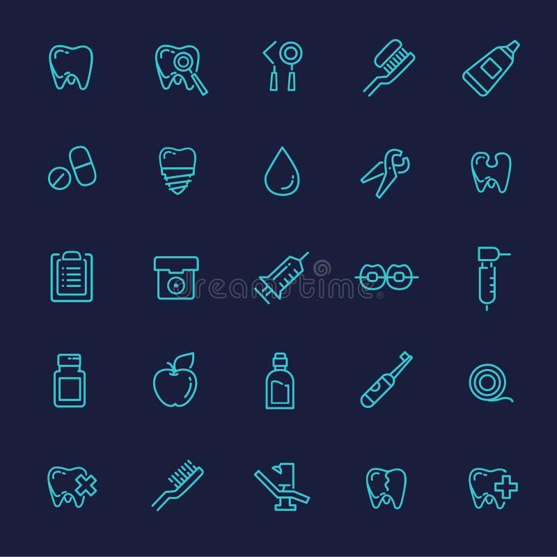Set sieci ikony - zęby, dentystyka, medycyna, zdrowie ilustracja wektor