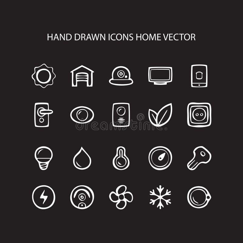 Set sieci linii cienkie ikony stwarza ognisko domowe ilustrację ilustracja wektor