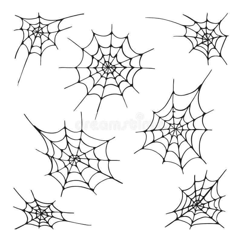 Set siedem pająka sieci sylwetka na białym tle, Ręka rysujący elementy dla Halloweenowej dekoraci royalty ilustracja