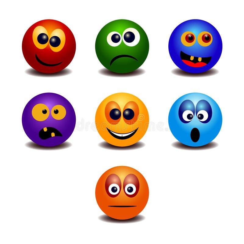 Set siedem tęcz kolorowych emoticons royalty ilustracja