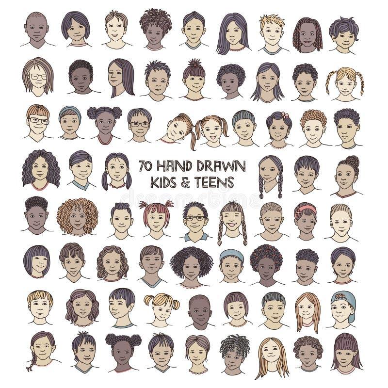 Set siedemdziesiąt ręki rysujących dzieci twarzy ilustracja wektor