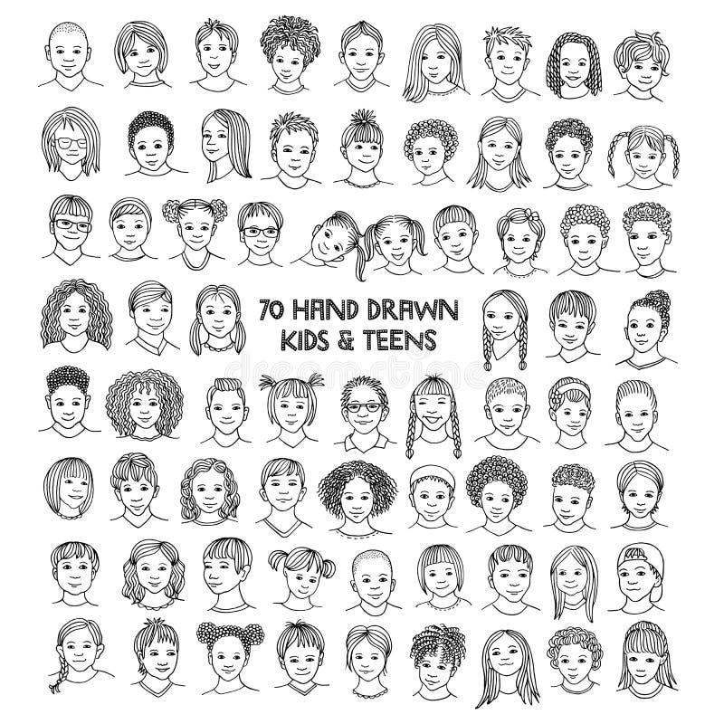Set siedemdziesiąt ręki rysujących dzieci twarzy, czarny i biały ilustracja wektor