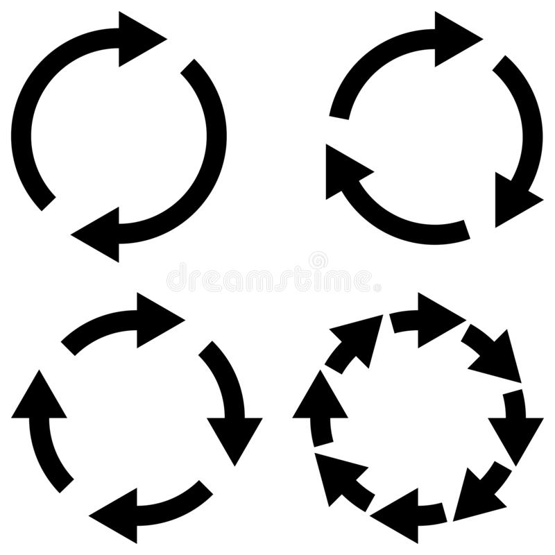 Set sign reload refresh icon, spinning arrows in circle, vector symbol sync, renewable crypto currency exchange, change renew royalty free illustration